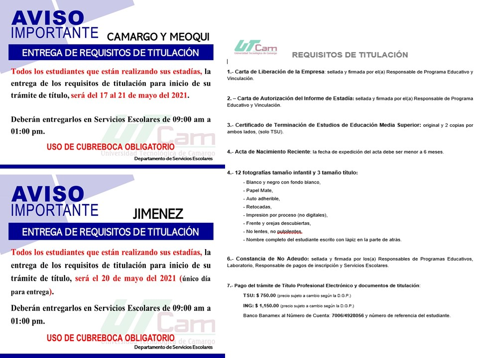 ATENCIÓN ESTUDIANTES EN ESTADÍA: ENTREGA DE REQUISITOS DE TITULACIÓN